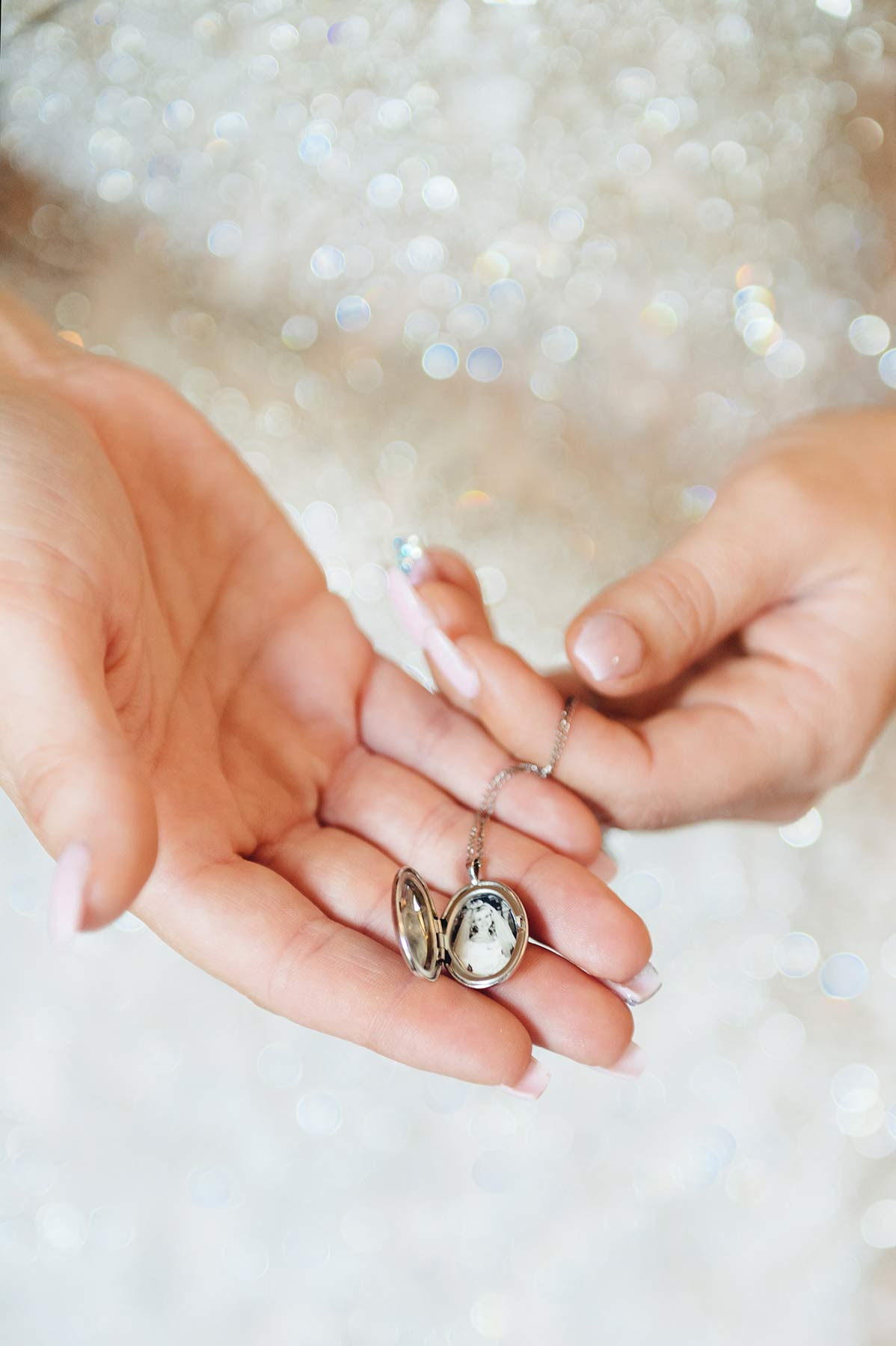Wedding details Bride Holding Locket