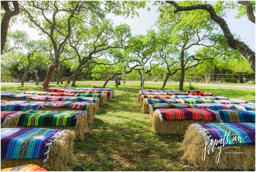Mexican Fiesta Wedding with Mexican Blankets and Hay Bales