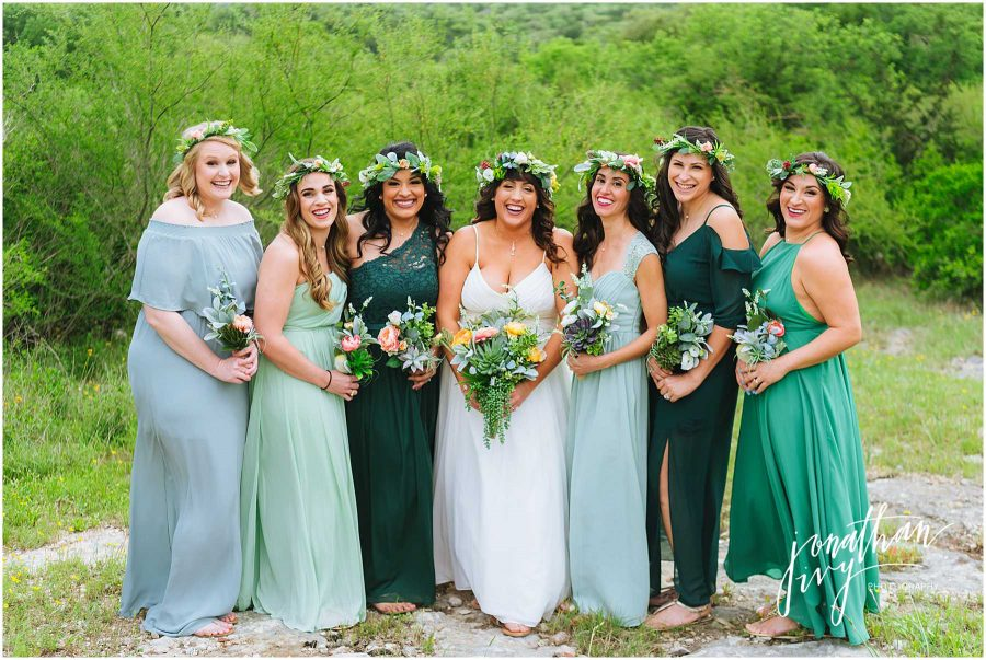 Mixed Green Bridesmaids Dresses with matching Boho Flower Crowns and Bouquets