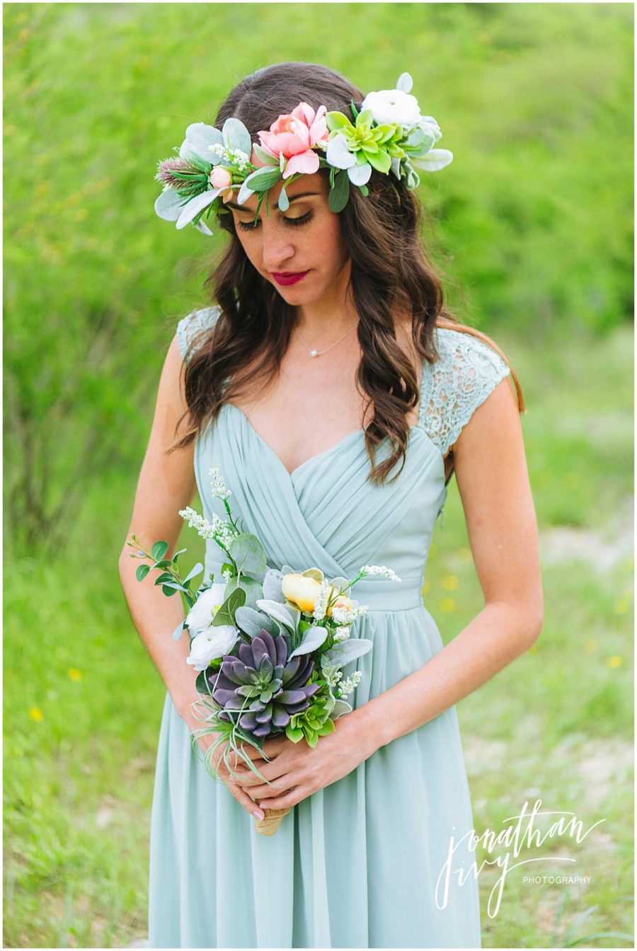 Boho Bridesmaid Floral Crown and Pastel Boho Bouquets