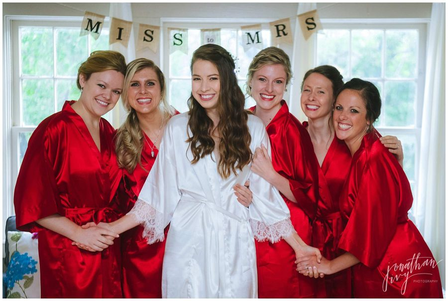 Red bridesmaids robes