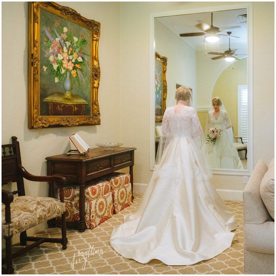 bride alone on wedding day