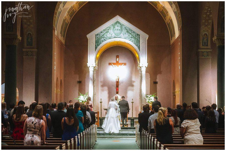 wedding ceremony at St Anne's Catholic Church