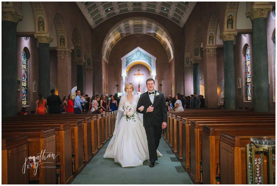 Newlywed couple at St Anne's Catholic Church