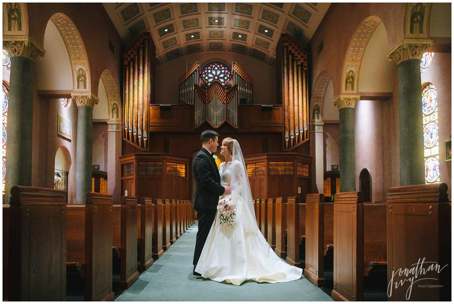 Newlywed couple in St Anne's Catholic Church