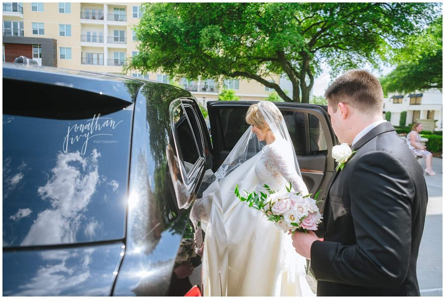 bride and groom exiting wedding