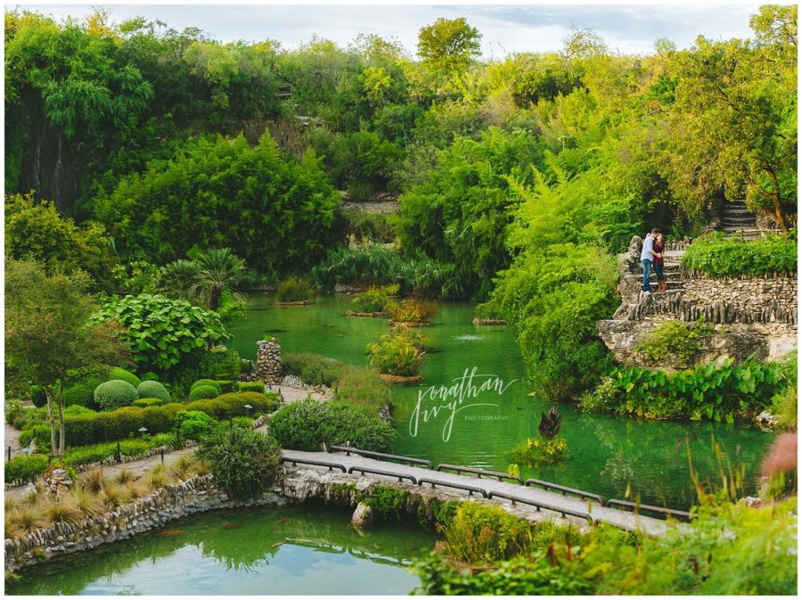 Japanese Gardens Engagement Photos San Antonio