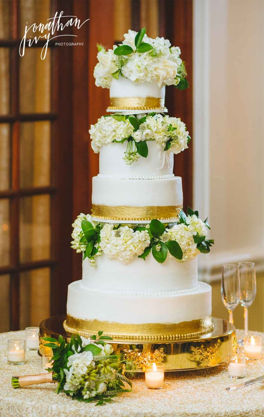 White and Gold Leaf Tiered Wedding Cake
