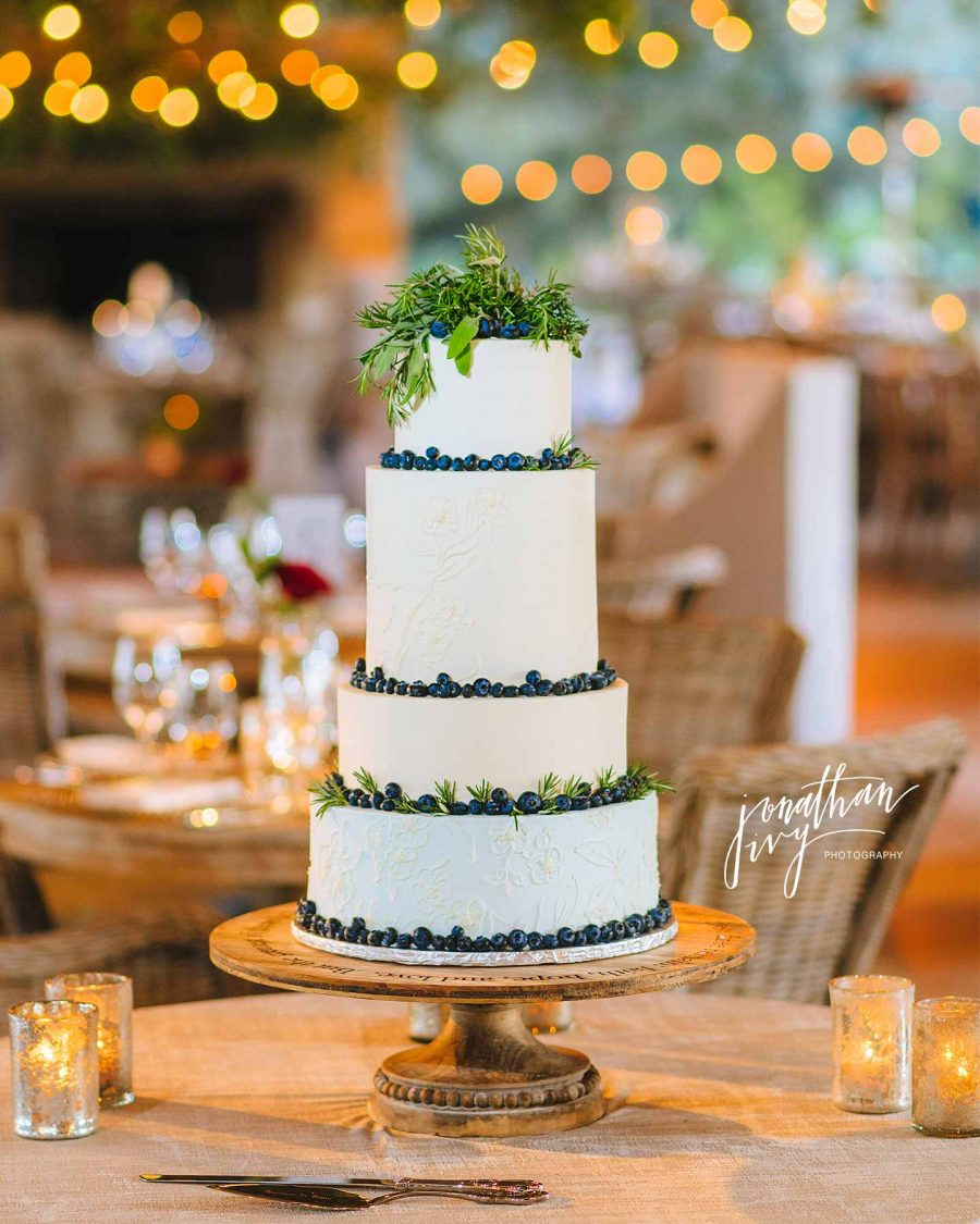 Multi Tiered White Wedding Cake with Blueberries