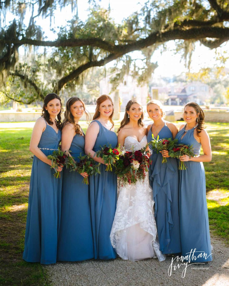 Blue Bridesmaids Dresses with Christmas Bridesmaids Flowers