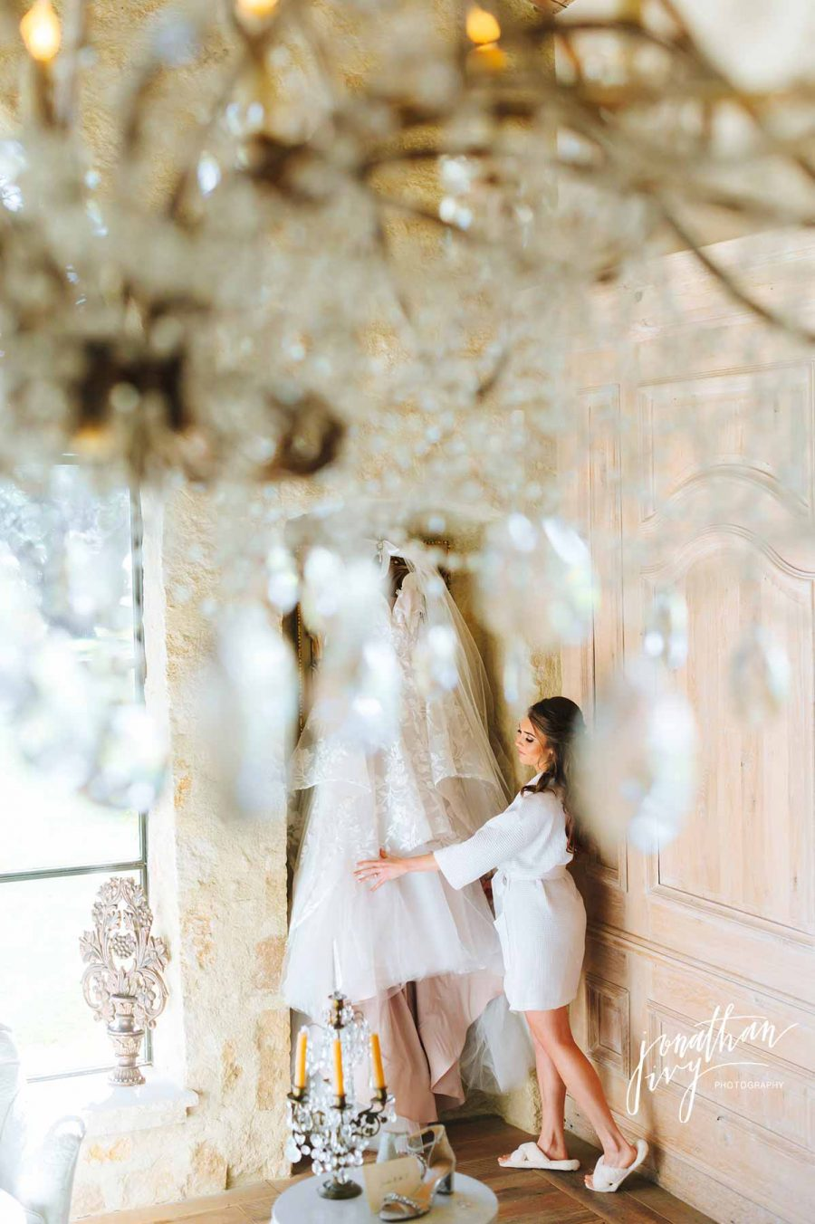 Bride Getting Ready with her Hayley Paige Gown | San Antonio Destination Wedding Photographer