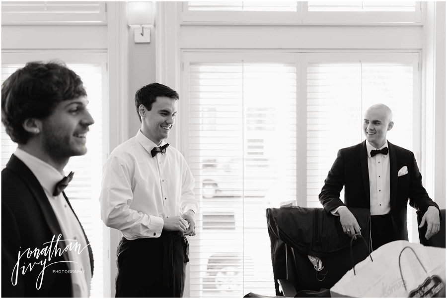 Groomsmen getting ready at Tremont House