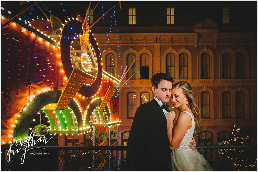 Wedding Couple Galveston Mardi Gras Arch