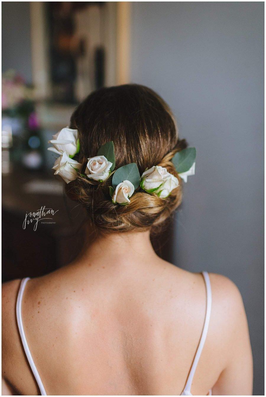 roses in bride's hair