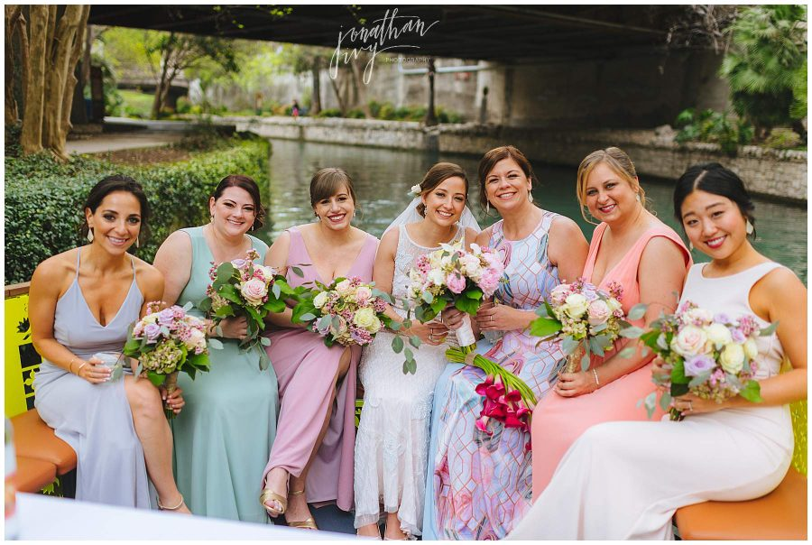 Bridesmaids on a boat